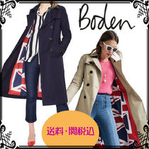 Boden Stand Collar Coats Plain Long Office Style Coats