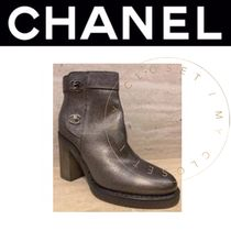 CHANEL Plain Toe Street Style Plain Leather Block Heels Handmade