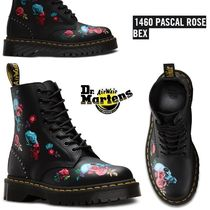 Dr Martens Skull Flower Patterns Platform Round Toe Casual Style