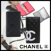 CHANEL CAMBON Blended Fabrics Plain Leather Folding Wallets
