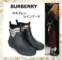 Burberry Other Check Patterns Round Toe Rubber Sole Unisex