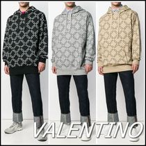 VALENTINO Street Style Long Sleeves Plain Cotton Oversized Hoodies