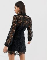 Missguided Short Long Sleeves High-Neck Lace Elegant Style Dresses