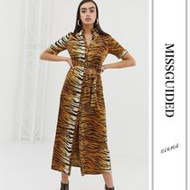 Missguided Other Animal Patterns Medium Short Sleeves Shirt Dresses
