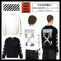 Off-White Crew Neck Pullovers Unisex Street Style Long Sleeves Cotton