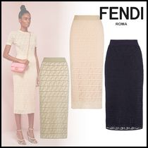 FENDI Pencil Skirts Monogram Cotton Medium Elegant Style