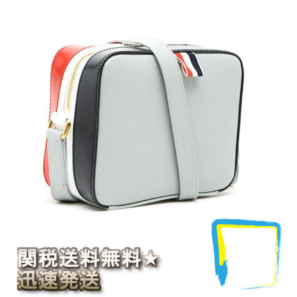 Stripes Casual Style Plain Leather Shoulder Bags