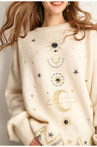 Star Casual Style U-Neck Long Sleeves Medium Sweaters
