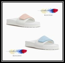BUSCEMI Casual Style Plain Leather Footbed Sandals Flat Sandals