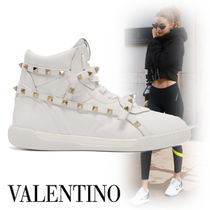 VALENTINO Rubber Sole Casual Style Studded Street Style Plain Leather