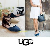 UGG Australia Open Toe Rubber Sole Casual Style Suede Blended Fabrics