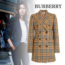 Burberry Other Check Patterns Wool Medium Elegant Style Jackets