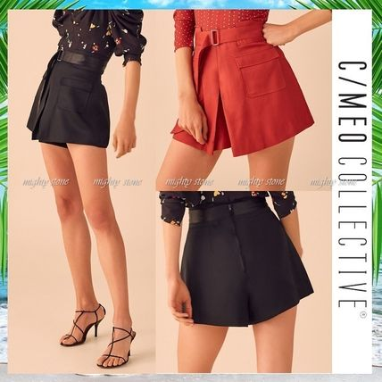 Short Blended Fabrics Plain Elegant Style Dark Brown Shorts