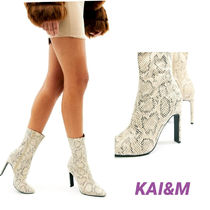 SIMMI Block Heels Party Style Python High Heel Boots