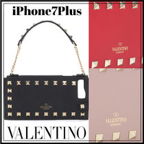 VALENTINO Studded Plain Leather With Jewels Smart Phone Cases