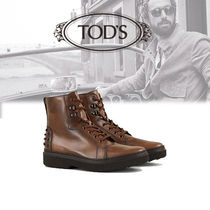 TOD'S Plain Leather Engineer Boots