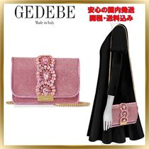 GEDEBE Chain Plain Leather With Jewels Elegant Style Shoulder Bags