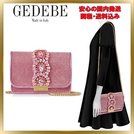 Chain Plain Leather With Jewels Elegant Style Crossbody
