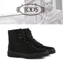 TOD'S Suede Plain Engineer Boots