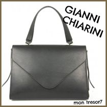 GIANNI CHIARINI A4 2WAY Plain Leather Elegant Style Shoulder Bags