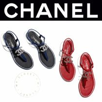 CHANEL ICON Open Toe Casual Style Blended Fabrics Street Style Chain