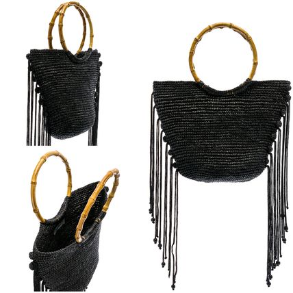 Casual Style Plain Fringes Totes