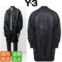 Y-3 Street Style Collaboration Plain Long MA-1 Bomber Jackets