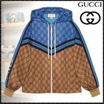 GUCCI Short Stripes Monogram Casual Style Blended Fabrics Jackets