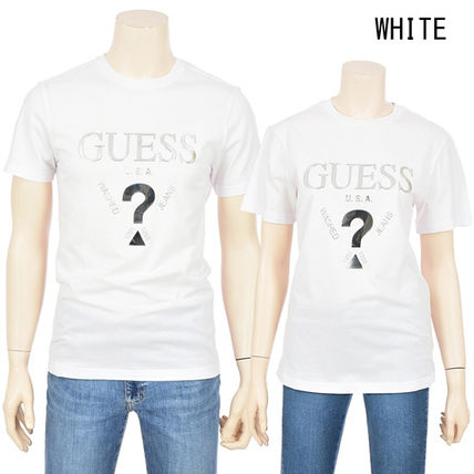 Guess More T-Shirts Unisex Street Style U-Neck Plain Cotton Short Sleeves 2