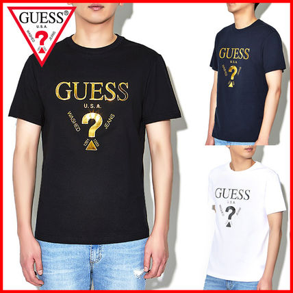 Guess More T-Shirts Unisex Street Style U-Neck Plain Cotton Short Sleeves