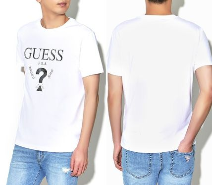 Guess More T-Shirts Unisex Street Style U-Neck Plain Cotton Short Sleeves 5