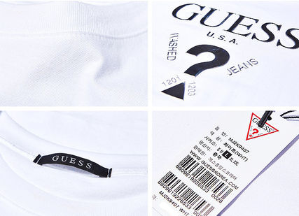 Guess More T-Shirts Unisex Street Style U-Neck Plain Cotton Short Sleeves 6