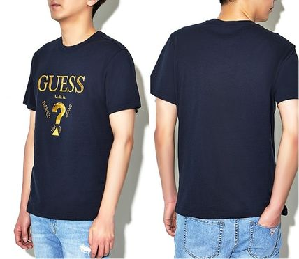 Guess More T-Shirts Unisex Street Style U-Neck Plain Cotton Short Sleeves 10