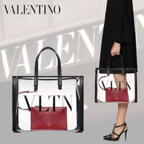 VALENTINO VLTN Blended Fabrics Crystal Clear Bags Logo Totes