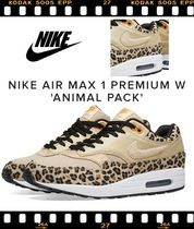 Nike AIR MAX 1 Leopard Patterns Casual Style Unisex Low-Top Sneakers