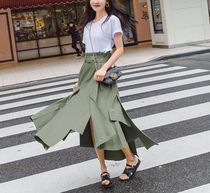 Casual Style Plain Cotton Long Midi Maxi Skirts