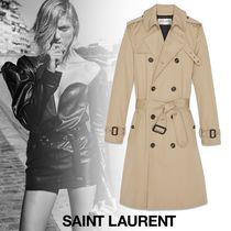 Saint Laurent Casual Style Plain Long Trench Coats
