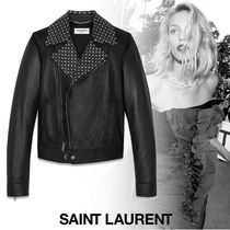 Saint Laurent Short Star Studded Plain Leather Biker Jackets