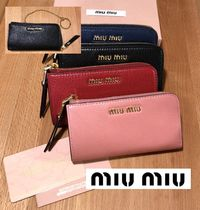 MiuMiu MADRAS Plain Leather Keychains & Bag Charms