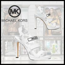 Michael Kors Open Toe Plain Leather Pin Heels Party Style Heeled Sandals