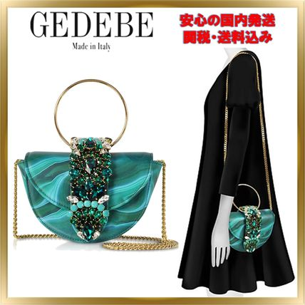 Chain Leather With Jewels Elegant Style Shoulder Bags