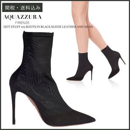 Suede Plain Pin Heels Party Style Ankle & Booties Boots