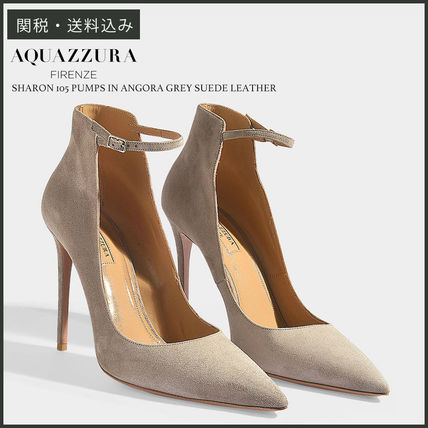 Suede Plain Pin Heels Party Style Pointed Toe Pumps & Mules