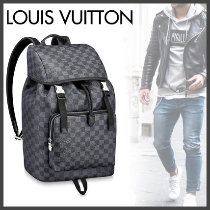 Louis Vuitton Backpacks Other Check Patterns Canvas Blended Fabrics Street Style A4 3