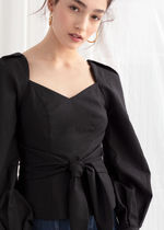 & Other Stories Plain Puff Sleeves Shirts & Blouses