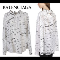 BALENCIAGA Casual Style Silk Bi-color Long Sleeves Medium