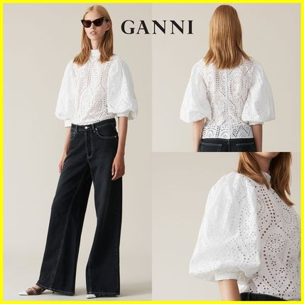 Short Casual Style Puffed Sleeves Cotton Cropped