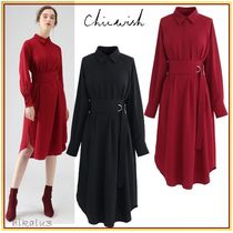 Chicwish Long Sleeves Plain Medium Party Style Dresses