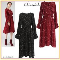 Chicwish Dots V-Neck Long Sleeves Medium Party Style Dresses