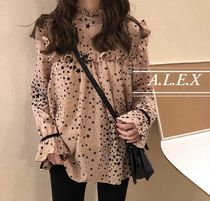 Star Casual Style Chiffon Medium Puff Sleeves
